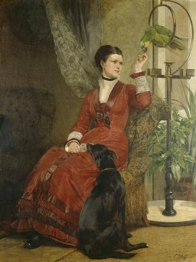 Lady with Parrot and Dog, C. 1880-Carl Constantin Steffeck-Giclee Print