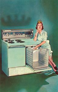 Lady with Tiara and Electric Stove, Retro