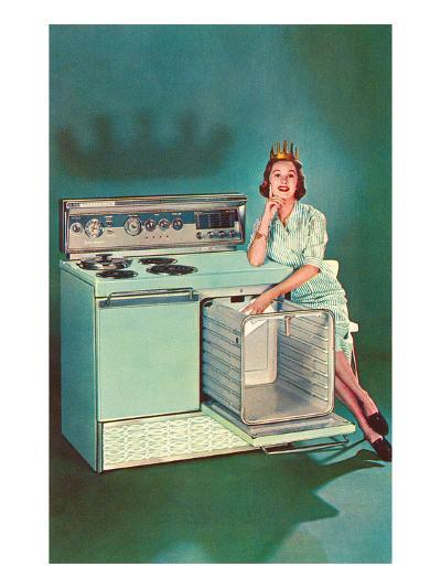 Lady with Tiara and Electric Stove, Retro--Art Print