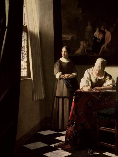 Lady Writing a Letter with Her Maid, circa 1670 Giclee Print by Johannes Vermeer | Art.com