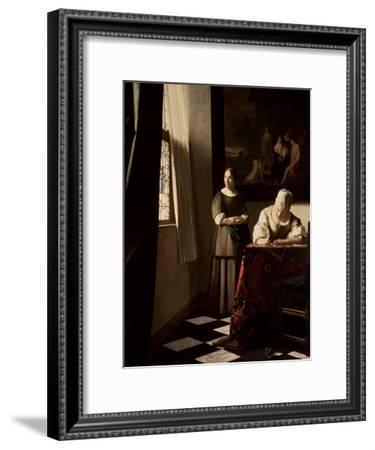 Lady Writing a Letter with Her Maid, circa 1670-Johannes Vermeer-Framed Giclee Print