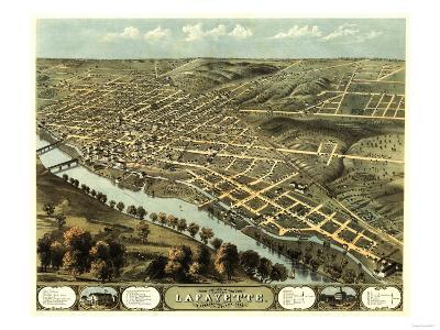 Lafayette, Indiana - Panoramic Map-Lantern Press-Art Print