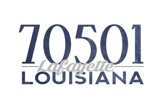 Lafayette, Louisiana - 70501 Zip Code(Blue)-Lantern Press-Art Print