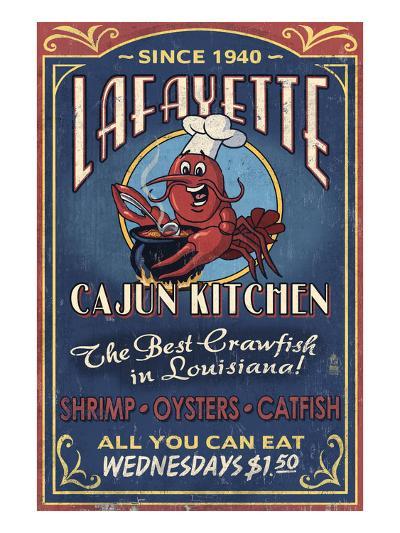 Lafayette, Louisiana - Cajun Kitchen-Lantern Press-Art Print