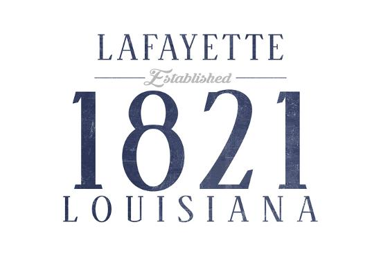 Lafayette, Louisiana - Established Date (Blue)-Lantern Press-Art Print