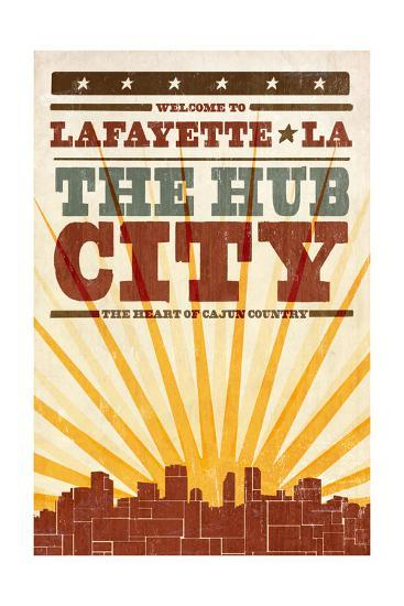 Lafayette, Louisiana - Skyline and Sunburst Screenprint Style-Lantern Press-Art Print