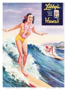 Surfer Girl, Libby's Pineapple Poster 1957 by Laffety