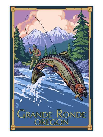 Lagrande, Oregon - Fly Fishing-Lantern Press-Art Print