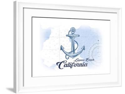 Laguna Beach, California - Anchor - Blue - Coastal Icon-Lantern Press-Framed Art Print