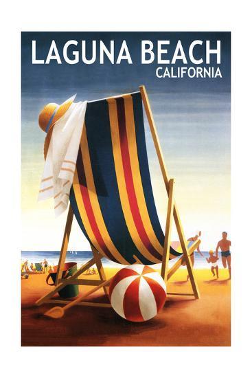 Laguna Beach, California - Beach Chair and Ball-Lantern Press-Art Print
