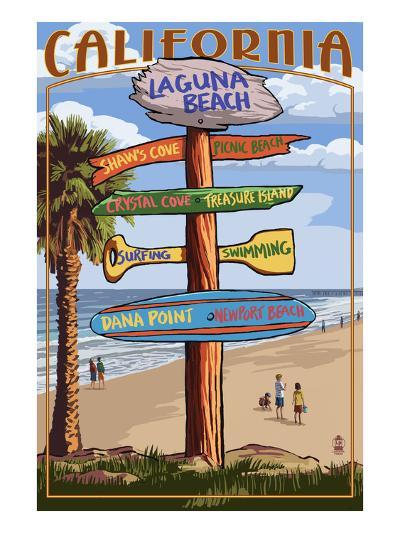 Laguna Beach, California - Destination Sign-Lantern Press-Art Print