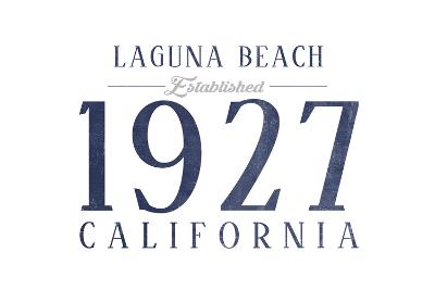 Laguna Beach, California - Established Date (Blue)-Lantern Press-Art Print