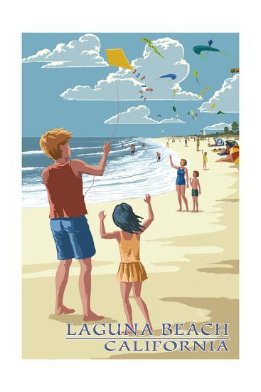 Laguna Beach, California - Kite Flyers-Lantern Press-Art Print