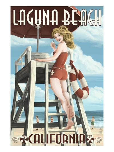 Laguna Beach, California - Lifeguard Pinup-Lantern Press-Art Print
