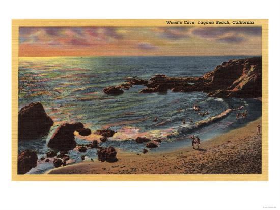 Laguna Beach, California - View of Wood's Cove-Lantern Press-Art Print