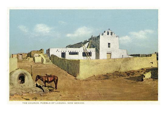 Laguna Pueblo, New Mexico - View of the Church-Lantern Press-Art Print