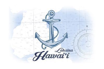 Lahaina, Hawaii - Anchor - Blue - Coastal Icon-Lantern Press-Art Print
