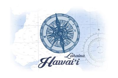 Lahaina, Hawaii - Compass - Blue - Coastal Icon-Lantern Press-Art Print