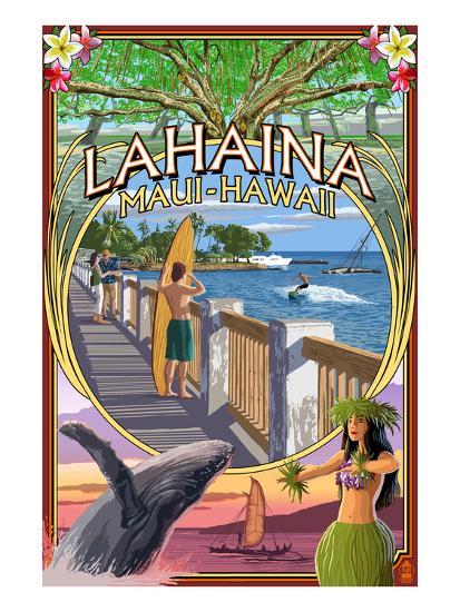 Lahaina, Maui, Hawaii - Town Scenes Montage-Lantern Press-Art Print