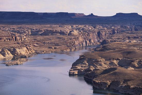 Lake among Desert Landforms-DLILLC-Photographic Print