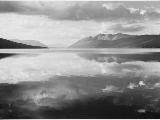 "Lake And Mountains ""McDonald Lake Glacier National Park"" Montana. 1933-1942-Ansel Adams-Art Print"