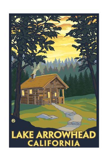 Lake Arrowhead, California -Cabin in the Woods-Lantern Press-Art Print