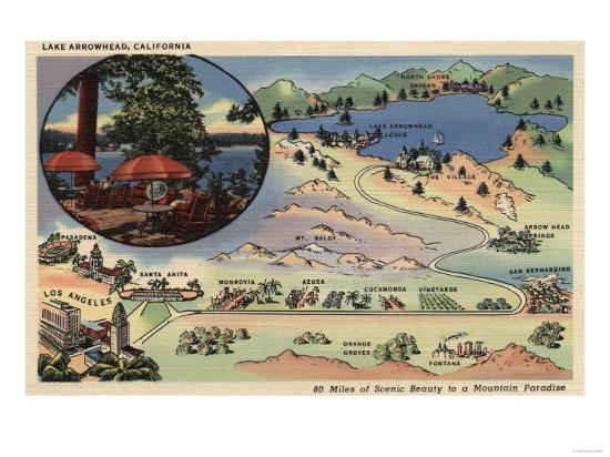 Lake Arrowhead, California - Detailed Map from LA to the Lake-Lantern Press-Art Print