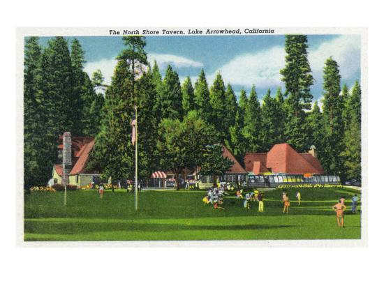 Lake Arrowhead, California - Exterior View of the North Shore Tavern, c.1949-Lantern Press-Art Print