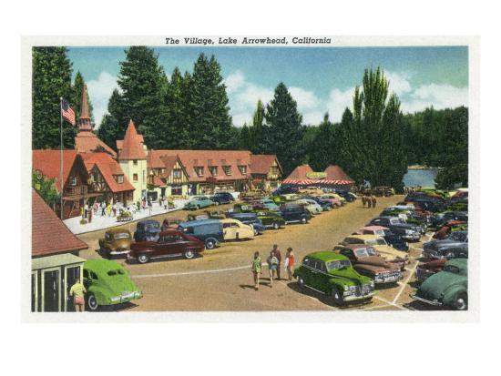 Lake Arrowhead, California - General View of the Village, c.1949-Lantern Press-Art Print