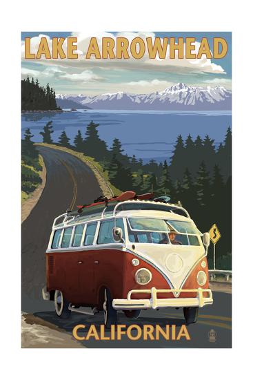 Lake Arrowhead - California - VW Van Coastal-Lantern Press-Art Print
