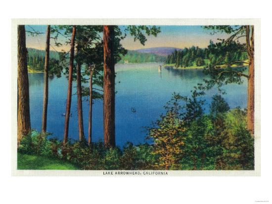 Lake Arrowhead View - Lake Arrowhead, CA-Lantern Press-Art Print