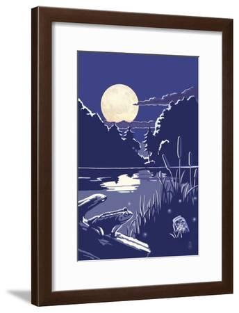 Lake at Night-Lantern Press-Framed Art Print