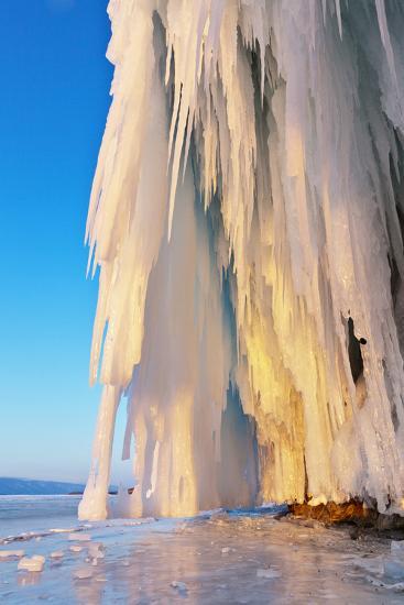 Lake Baikal. Ice and Icicles on Rocks in Sunset Light-katvic-Photographic Print