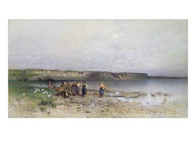Lake Balaton with the Shore of Akarattya, 1885-Geza Meszoly-Giclee Print