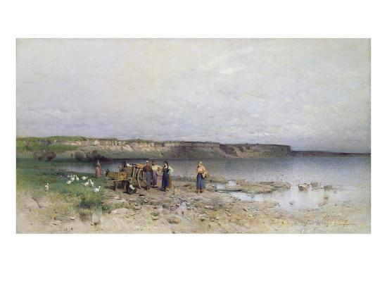 Lake Balaton with the Shore of Akarattya, 1885-Geza Meszoly-Giclee Print
