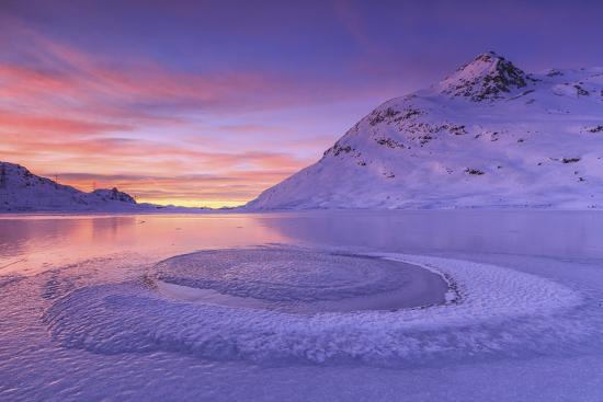 Lake Bianco at Bernina Pass. Canton of Graubunden. Engadine. Switzerland. Europe-ClickAlps-Photographic Print