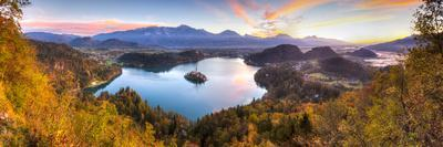 Lake Bled and the Julian Alps Illuminated at Sunrise, Lake Bled, Bled, Upper Carniola, Slovenia-Doug Pearson-Photographic Print