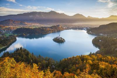 Lake Bled and the Julian Alps Illuminated at Sunrise, Lake Bled, Bled, Upper Carniola, Slovenia-Doug Pearson-Photographic Print