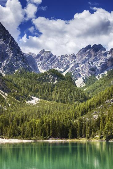 Lake Braies and Dolomite Alps, Northern Italy--Photographic Print