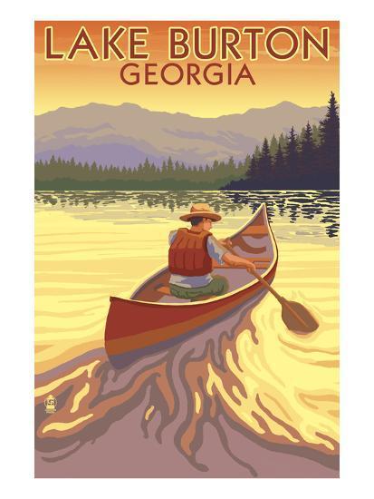 Lake Burton, Georgia - Canoe Sunset-Lantern Press-Art Print