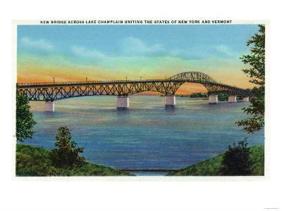 Lake Champlain, New York - Close-up View of the New Bridge-Lantern Press-Art Print