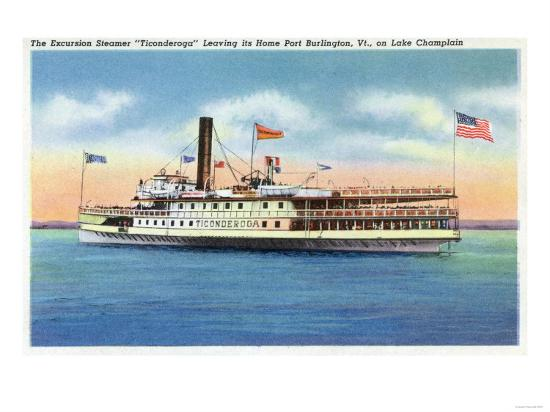 Lake Champlain, New York - Ticonderoga Steamer Leaving Port Burlington, VT-Lantern Press-Art Print