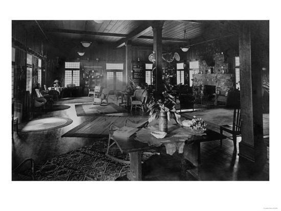 Lake Crescent Tavern Lobby Washington Photograph - Lake Crescent, WA-Lantern Press-Art Print