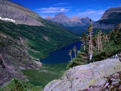 Lake Ellen Wilson and Canyon Walls, Glacier National Park, USA-Aaron McCoy-Photographic Print