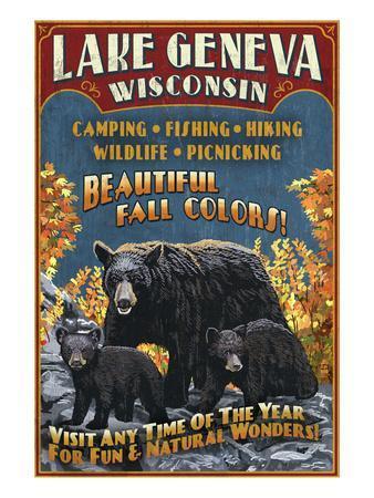 Lake Geneva, Wisconsin - Black Bears-Lantern Press-Art Print