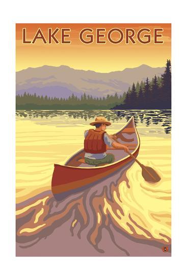Lake George, California - Canoe Scene-Lantern Press-Art Print