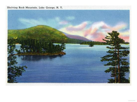 Lake George, New York - Lake View of Shelving Rock Mountain-Lantern Press-Art Print