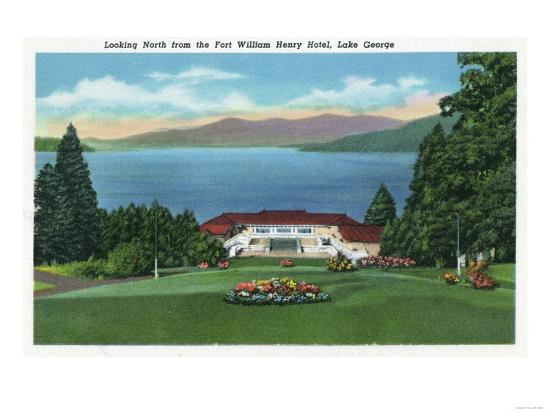 Lake George, New York - Northern View of Lake from Ft William Henry Hotel-Lantern Press-Art Print