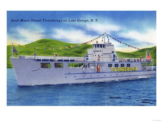 Lake George, New York - Steel Motor Vessel Ticonderoga on Lake-Lantern Press-Art Print