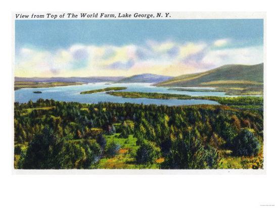 Lake George, New York - Top of the World Farm View of the Lake-Lantern Press-Art Print